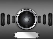 Loudspeaker on metal plate with copy space Royalty Free Stock Photos
