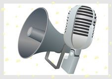 Loudspeaker and microphone Stock Images