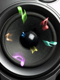 Loudspeaker with music notes Stock Image