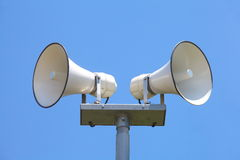 Loudspeaker. And nice blue sky stock image