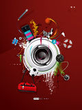 Loudspeaker painted on the wall Stock Image