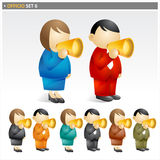 Loudspeaker people. Graphic with different colour schemes. Officio set Stock Photo