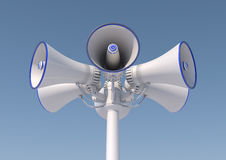 Loudspeaker on a pole. 3d render of 6 loudspeakers on a pole Royalty Free Stock Image
