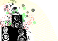 Loudspeaker with retro lines and splashing circles Stock Image