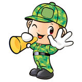 Loudspeaker, a Soldier Character Royalty Free Stock Image