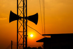 Loudspeaker and sunset Royalty Free Stock Image