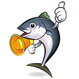 Loudspeaker to promote tuna. Tuna Character Stock Images