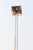 Loudspeaker tower white sky. Tower of sound along the lines of one community Royalty Free Stock Photography