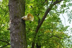 Loudspeaker on the tree. Loud broadcast in public places stock photos