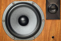 Loudspeaker and tweeter in wooden cabinet. Closeup view Royalty Free Stock Images