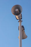 Loudspeaker. Two old loudspeakers at a railway station Royalty Free Stock Photos