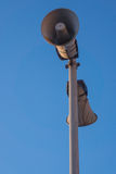 Loudspeaker. Two old loudspeakers at a railway station Royalty Free Stock Photography