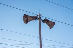 Loudspeaker. Two old loudspeakers at a railway station Stock Image