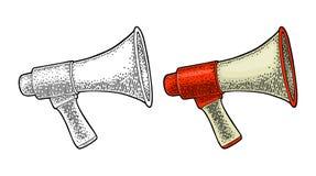 Loudspeaker. Vintage vector black engraving isolated on white background. Loudspeaker. Vintage vector color engraving illustration for poster, web. Isolated on stock illustration