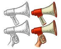 Loudspeaker. Vintage vector color and monochrome engraving isolated on white. Loudspeaker. Vintage vector color and monochrome engraving illustration for poster vector illustration