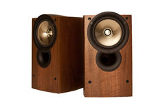 Loudspeaker in wooden cabinet, isolated Royalty Free Stock Images