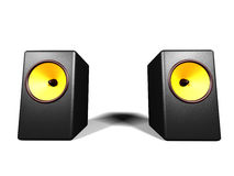 Loudspeakers. Two black loudspeakers on the white background Stock Photos