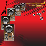 Loudspeakers. Abstract colorful red background with loudspeakers, golden trumpet and guitar shape vector illustration
