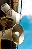 Loudspeakers on blue Stock Image
