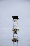 Loudspeakers broadcast tower on sky background. The Loudspeakers broadcast tower on sky background Stock Photography