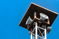 Loudspeakers broadcast. Of the village were installed in the high post Stock Images