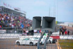 Loudspeakers at a car auto racing event Royalty Free Stock Photography