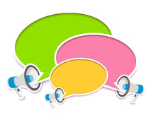 Loudspeakers and comic speech bubbles Stock Image