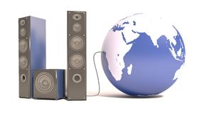 Loudspeakers connected to the planet earth.  Stock Images