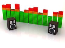 Loudspeakers with equalizer Royalty Free Stock Photos