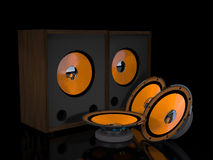 Loudspeakers and speakers are on a black background. Stock Photo