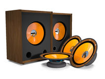Loudspeakers and speakers are on a white background. Royalty Free Stock Photography