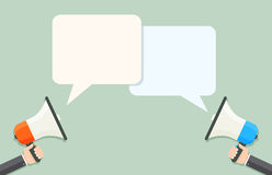 Loudspeakers with speech bubbles Stock Photos