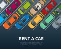 Louer une voiture d'occasion nouvelle ou Bannière de réservation de réservation de location de voiture Fond d'illustration de vec illustration de vecteur