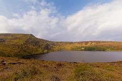 Lough Bray lower lake in Wicklow mountains. National park, Dublin, Ireland stock photos