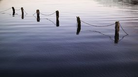 Submerged Fence 2. Lough Key Evening Ripples, Roscommon Royalty Free Stock Photo