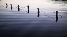 Submerged Fence 1. Lough Key Evening Ripples, Roscommon Stock Photography