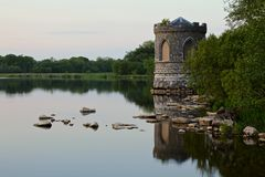 Lough key turret. Lough key lake sunrise castle turret stock photography