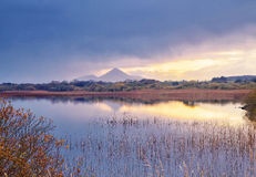 Lough Lannagh. Sunrise on Lough Lannagh,Castlebar,Co.Mayo, Ireland with Croagh Patrick mountain in background Stock Images