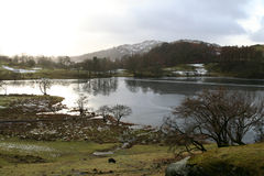 Loughrigg Tarn. Frozen Loughrigg Tarn in Winter in the English Lake District Stock Images