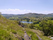 Loughrigg Tarn viewed from hillside Stock Image