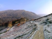 Loughrigg Terrace path on frosty spring morning Royalty Free Stock Photo
