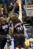Louis Amundson And Joe Smith Block The Ball Stock Images