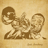Louis Armstrong Digital Hand getrokken Illustratie stock illustratie