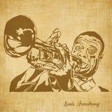 Louis Armstrong Digital Hand gezeichnete Illustration stock abbildung