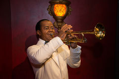 Louis Armstrong in Grevin museum of the wax figures in Prague. Royalty Free Stock Photos