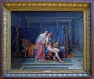 Louis David De Liefdes van Parijs en Helen 1788 Louvre stock foto