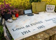 Louis De funès grób w Le Cellier, Francja Obrazy Royalty Free