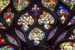 Louis 9th Rose Window Stained Glass Sainte Chapelle Paris France Arkivbilder