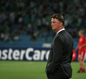 Louis van Gaal Bayern Munich. Ramat Gan, Israel - September 15, 2009: Louis van Gaal, Head coach of Bayern Munich, during a Champions League match against royalty free stock photography