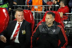 Louis van Gaal and Ryan Giggs Manchester Unied Stock Image